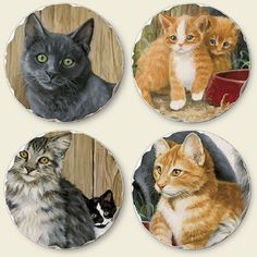 Cat Coasters, Plates, Tableware, Licence Plates, Dishes, Dinnerware, Plate, Dish