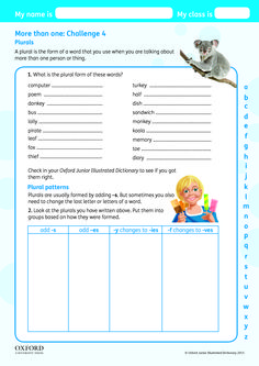 Download your free Oxford Junior Illustrated Dictionary Challenge worksheet. What is the plural form of these words?