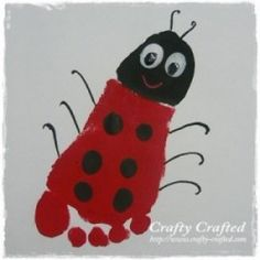Footprint Ladybug... lots of great hand print and foot print crafts at this website!