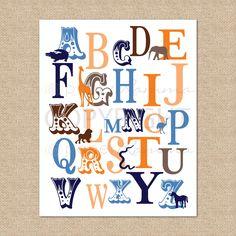 ABC Typography Safari Alphabet Print - 8x10 - Archival Giclee Art Print for Nursery / Childs Room. $20.00, via Etsy.