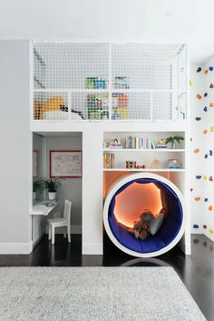 35 Kids Playroom Ideas With Learning Concepts Playroom Design, Kids Room Design, Playroom Ideas, Loft Bed Desk, Bedroom Bookshelf, Bookshelf Ideas, Nursery Decor, Bedroom Decor, Bedroom Ideas