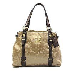 Amazon.com: Coach Madison Op Art Mia Carryall Tote Bag Purse 15402 Khaki Mahogany: Shoes