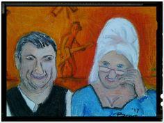 He is happy (2) - olie pastel op doek