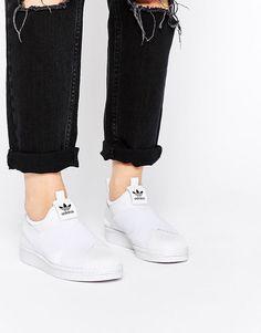 97a3d458629 adidas Originals Superstar Slip On White Trainers at asos.com
