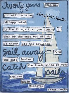 Sailing... Art Print - 8x10 - Mixed Media. $16.00, via Etsy.