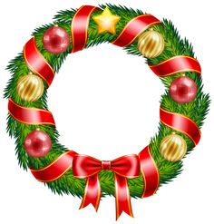 Christmas Wreath with Ornaments and Red Bow Clipart PNG Image Christmas Scenery, Christmas Frames, Christmas Background, Christmas Paper, Christmas Photos, Merry Christmas, Christmas Ornament Wreath, Christmas Tree Decorations, Christmas Wreaths