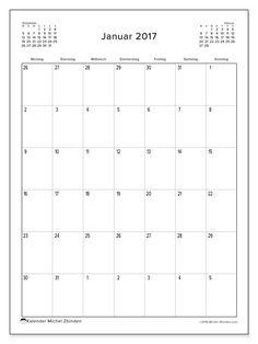 Kalender Januar 2017 zum