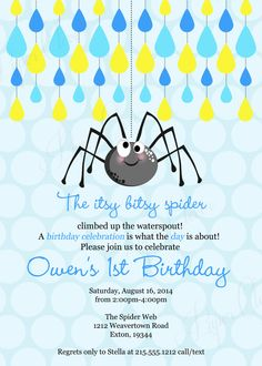 Nursery rhyme story book first birthday party invitation featuring itsy bitsy spider birthday party invitations kids boys first birthday classic invites nursery rhyme printable printed paper spid filmwisefo Choice Image