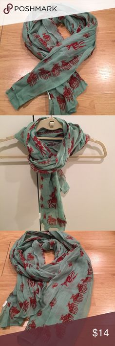 Madewell scarf Turquoise scarf from Madewell with red deer print. Worn twice. In excellent condition, but tag removed. Would be great in the spring, fall or winter because it is not too heavy. Madewell Accessories Scarves & Wraps