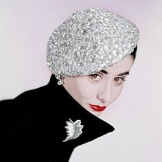 Photograph - A Model Wearing A Beret Covered In Beads by Erwin Blumenfeld