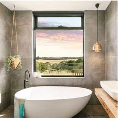 Good Looking Bathrooms What Better Way To Pair Picturesque Views Than With Our Belga Grey Glazed Porcelain
