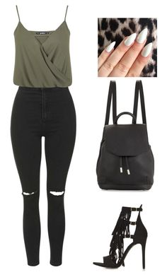 """Black & green always wins"" by thefashionguilty on Polyvore featuring Topshop, Miss Selfridge and rag & bone"