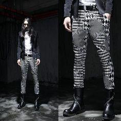 Men's Punk Rock Black & White Pattern Gothic Goth Emo Casual Pants Jeans #KoreaneedlefitskinnypantsGangnamstyle #CasualPants