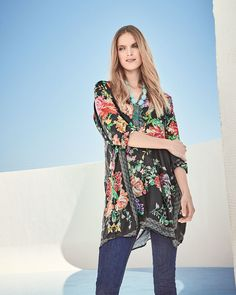 677f477ca62 Johnny Was Plus Size Camilla Long Floral-Print Silk Tunic | Neiman Marcus  Camilla Long