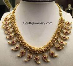 Indian Jewellery Designs - Page 4 of 1785 - Latest Indian Jewellery Designs 2020 ~ 22 Carat Gold Jewellery one gram gold Gold Jewelry Simple, Coral Jewelry, India Jewelry, Wedding Jewelry, Gold Temple Jewellery, Gold Jewellery Design, Thread Jewellery, Mango Necklace, Jewelry Model
