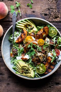 Balsamic Peach Basil Chicken Salad with Crispy Prosciutto