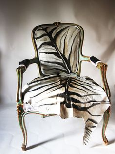 Opulent... Watercolor Zebra Printed Leather On Chair. Images