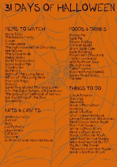 halloween movies Just heard my quot;first of the seasonquot; mention of 31 days of Halloween, as my kids watch TV in the other room. This is a real guide! Lishem: 31 Days of Halloween