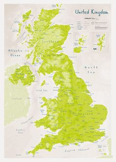If you'd like to add some vibrant colour to your walls, the stunning UK as Art Map - Parakeet is the perfect choice for you. This stylish map of the UK can create a brilliant focal point with its light green tone, in any home or office.This is the perfect Irish Sea, Wall Maps, Parakeet, British Isles, Map Art, Celtic, Vibrant Colors, Walls, Colour