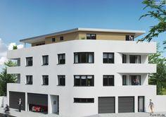 Diese photorealistische 3D Visualisierung eines Mehrfamilienhauses samt Penthousewohnung steht gerade in Vermarktung durch unseren Kunden.