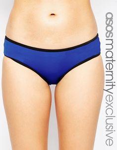Bikinislip für Schwangere, exklusiv erhältlich in der ASOS Maternity Kollektion aus Stretchmaterial für Bademode Kontrastbesatz niedrige Bundhöhe passt in allen Phasen der Schwangerschaft Handwäsche 80% Polyamid, 20% Elastan