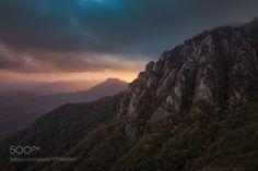 Darkside of Autumn by NathanielMerz with treesskylightrockfalldarkmountainoutdoorshikingkoreadrearyadventure