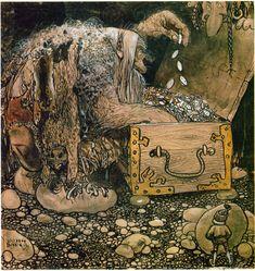 Troll by John Bauer, Swedish Folk Tales John Bauer, Troll, Forest Creatures, Fairytale Art, All Nature, Children's Book Illustration, Faeries, Golden Age, Illustrators