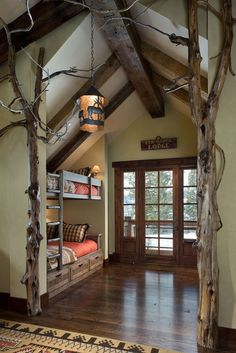 Lodge bedroom with bunk beds and interior tree decoration. Bunk Rooms, Bunk Beds, Loft Beds, Lodge Bedroom, Woodsy Bedroom, Rustic Bedrooms, Bedroom Retreat, Sweet Home, Home And Deco
