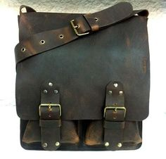 Classic Handcrafted Distressed Brown Messenger Bag. Large Men/ Women Leather Bag. Crossbody. Big Pockets Leather Bag. Unisex.