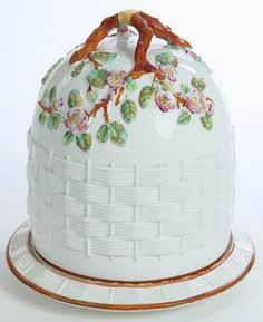 An impressed mark for George Jones, majolica cheese keeper, beehive form, Apple Blossom and Basketweave