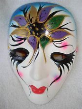 New Orleans Mardi Gras Face Mask Decortive wall hanging hand painted Ceramic