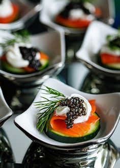 Salmon and Caviar Cucumber Appetizer with Sour Cream and Dill