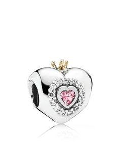 PANDORA Charm - Sterling Silver, Cubic Zirconia & 14k Gold Princess Heart, Moments Collection | Bloomingdale's