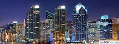 The city of San Diego, skyscrapers at night, city lights  - facebook cover photo, fb covers