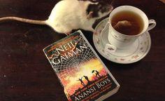 rat drinking tea reading Neil Gaima via maggiejulienne on tumblr