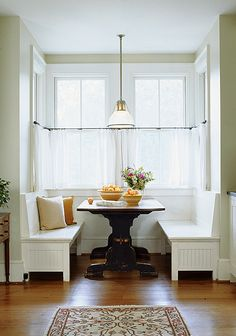 Banquette with cafe curtains, Anne Decker Architects | Selected Works | Renovations | Somerset Residence