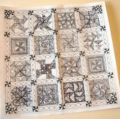 Amazing sketch of her quilting plan...wow!
