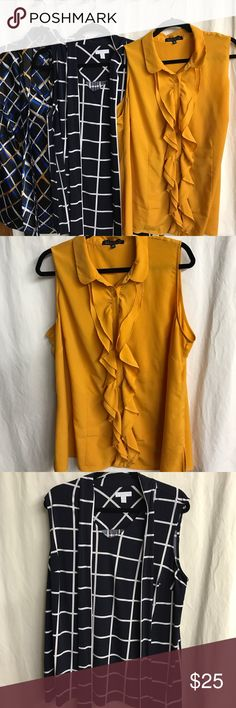 Assorted sleeveless blouses Excellent condition and from a smoke free home. Navy is from Charter Club, yellow from ELOQUII, and blue/gold is from Nine West. Tie style neck on them aside from yellow. These work great under a blazer or cardigan. Eloquii Tops Blouses