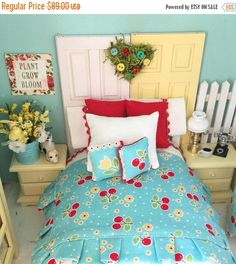 Dollhouse bedding made using Sew Cherry 2 fabrics. Bright and cheerful! https://www.etsy.com/listing/523290707/sale-miniature-dollhouse-cherry-bedding