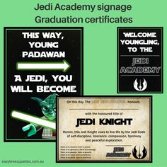 Printable Jedi Training Academy graduation certificate and posters. Download at https://www.etsy.com/listing/273166444/star-wars-jedi-training-academy-party?ref=shop_home_active_1, along with full Jedi activity instructions. #easybreezyparties