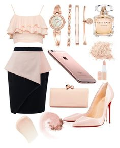 """Cream"" by rabiahk on Polyvore featuring Christian Louboutin, Anne Klein, AT&T, Ted Baker, Elie Saab, Rimmel, NARS Cosmetics and By Terry"