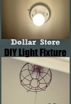 dollar store hanging garden basket light fixture, lighting, repurposing upcycling, Industrial inspired Dollar Store Light Fixture For the full tutorial check out Two It Yourself