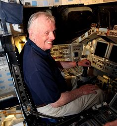 Neil Armstrong taking a seat in the Space Shuttle. #neilarmstrong #nasa