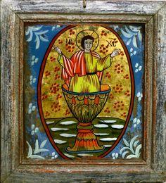 Iisus din Potir - Mărginimea Sibiului - gospodărie din Retiş Sacred Art, Religious Art, Romania, Album, Cool Stuff, Glass, Painting, Printmaking, Art