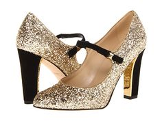 New Years Eve Shoes!!! Kate Spade New York Nouvo Gold Glitter/Black Suede - Zappos Couture