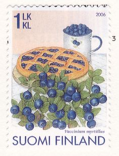 A damn fine 'cherry' pie Finland style. Bilberry, blueberry or whortleberry. Helsinki, Postage Stamp Art, Going Postal, Vintage Stamps, Mail Art, Stamp Collecting, Poster, Oeuvre D'art, Les Oeuvres