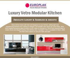 Luxury Vetro Modular Kitchen For more details Visit : http://www.europlak.in/