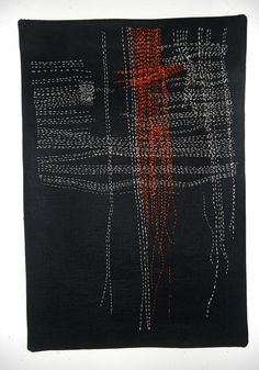 Remnant Remnant 13x 19 inches 2012 hand-stitched embroidery floss and silk/wool thread on black linen.