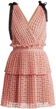 SELF-PORTRAIT Two-tier guipure-lace dress Sexy Evening Dress, Evening Dresses, Summer Dresses, Look Fashion, Fashion Outfits, Womens Fashion, Casual Dresses, Short Dresses, Lace Dresses