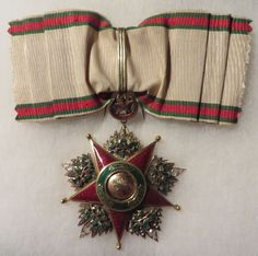 """Late-Ottoman Order of Charity (Nişan-ı Şefkat).  Instituted in 1878 by """"Sultan Abdulhamid II"""" in three classes, this order was reserved for women. – Second Class Badge (diamonds, gold and enamels, 58mm x 76mm)"""